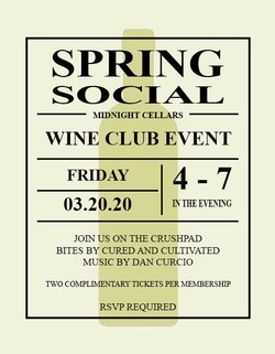 Wine Club Complimentary Ticket